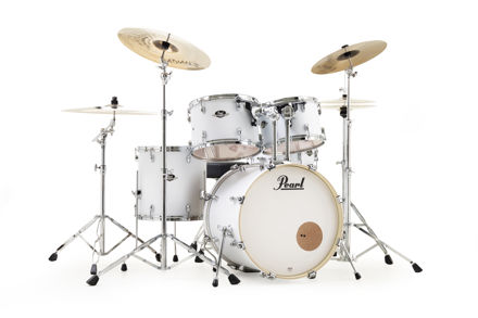 Pearl Export 5 pc Drum Set with HWP830 and SBR Cymbal Pack | Matt White 2218BB/1208T/1309T/1616F/1455S/HWP830