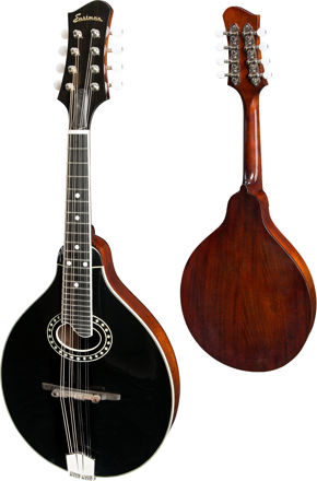 Eastman MD404-BK - Black A-style oval hole, Solid Spruce top, Solid Mahogany back and sides, Black top, w/Case