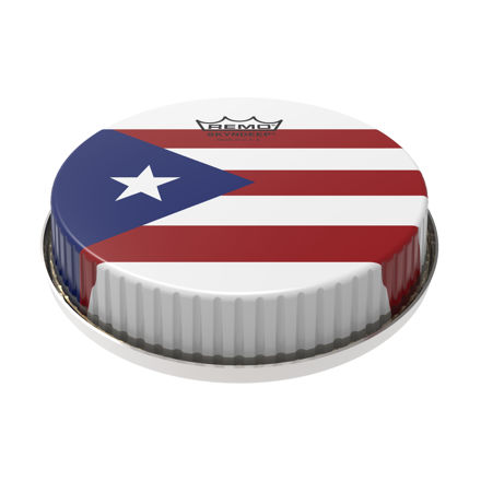 "Remo Bongo Drumhead R-Series 7.15"" Skyndeep ""Puerto Rican Flag"" Graphic"