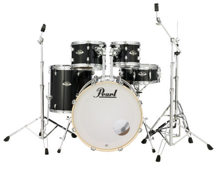 Pearl Export 5 pc Drum Set with HWP830 and SBR Cymbal Pack | Jet Black 2218BB/1007T/1208T/1616F/1455S/HWP830