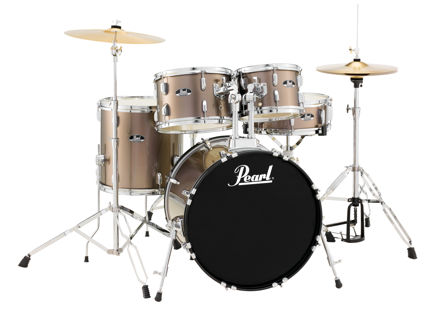 Pearl Roadshow 5 pc kit with HW and Cymbal | Bronze Metallic 1007T/1208T/1414F/2016B/1450S