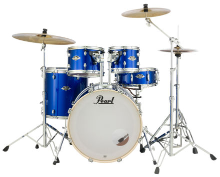 Pearl Export 5 pc Drum Set with HWP830 and SBR Cymbal Pack | High Voltage Blue 2218BB/1007T/1208T/1616F/1455S/HWP830