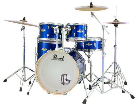 Pearl Export 5 pc Drum Set with HWP830 and SBR Cymbal Pack | High Voltage Blue 2016BB/1007T/1208T/1414F/1455S/HWP830