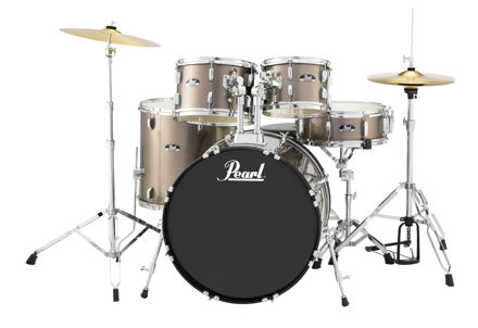 Pearl Roadshow 5 pc kit with HW and Cymbal | Bronze Metallic 1008T/1209T/1616F/2216B/1455S
