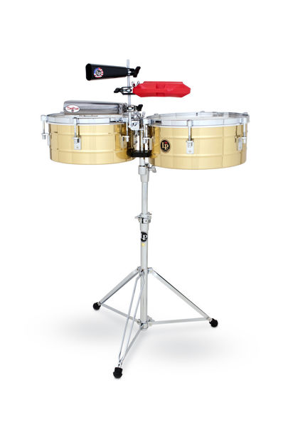 "Latin Percussion LP257-B Tito Puente Solid Brass - Timbale set 14""/15"""