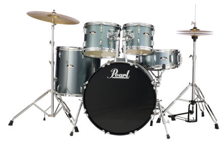 Pearl Roadshow 5 pc kit with HW and Cymbal | Charcoal Metallic 1008T/1209T/1616F/2216B/1455S