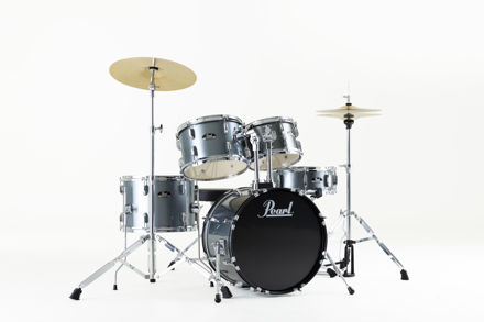 Pearl Roadshow 5 pc kit with HW and Cymbal | Charcoal Metallic 1007T/1208T/1410F/1812B/1305S