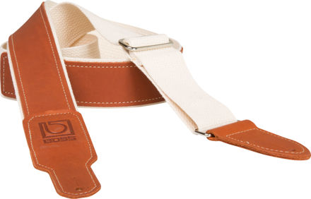 """Boss BSH-20-NAT 2"""" NATURAL COTTON WITH BROWN LEATHER HYBRID GUITAR STRAP"""
