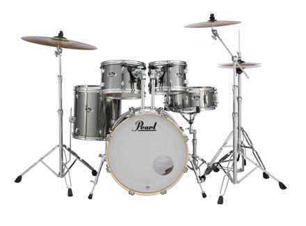 Pearl Export 5 pc Drum Set with HWP830 and SBR Cymbal Pack | Smokey Chrome 2016BB/1007T/1208T/1414F/1455S/HWP830
