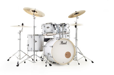Pearl Export 5 pc Drum Set with HWP830 and SBR Cymbal Pack | Matt White 2218BB/1007T/1208T/1616F/1455S/HWP830