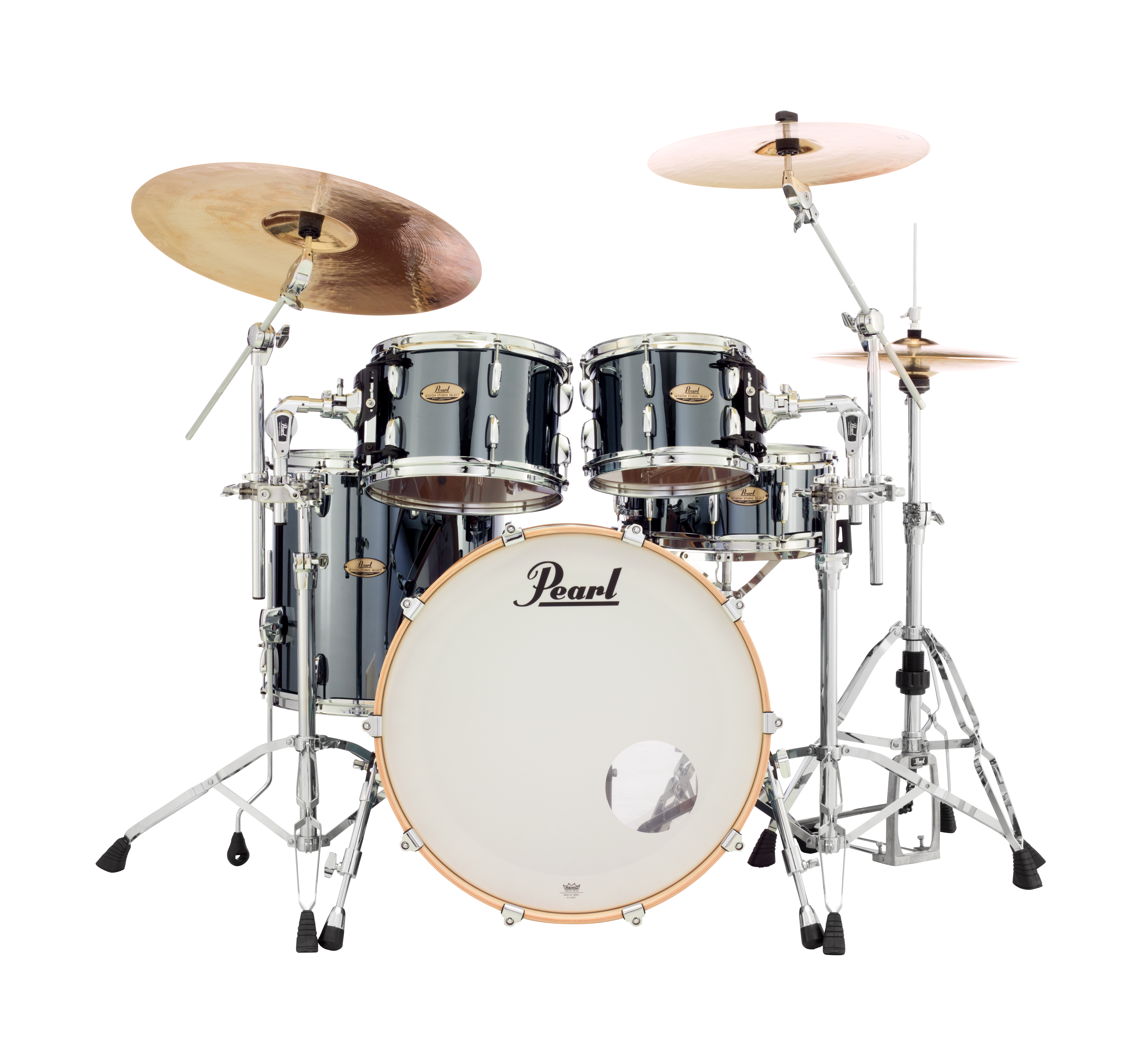 Pearl Session Studio Select 4 pc Shell Pack | Black Mirror Chrome 2216BX/1007T/1208T/1616F