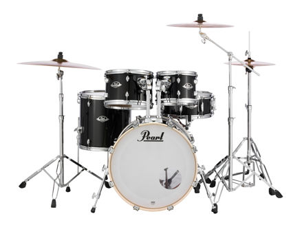 Pearl Export 5 pc Drum Set with HWP830 and SBR Cymbal Pack | Jet Black 2016BB/1007T/1208T/1414F/1455S/HWP830