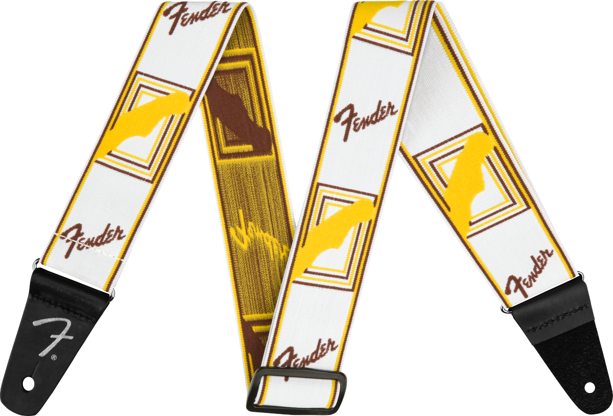"""Fender Weighless™ 2"""" Monogrammed Strap, White/Brown/Yellow"""