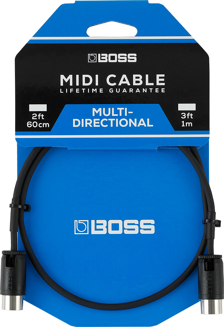 BOSS 3FT / 1M MIDI CABLE WITH ADJUSTABLE CABLE ANGLE