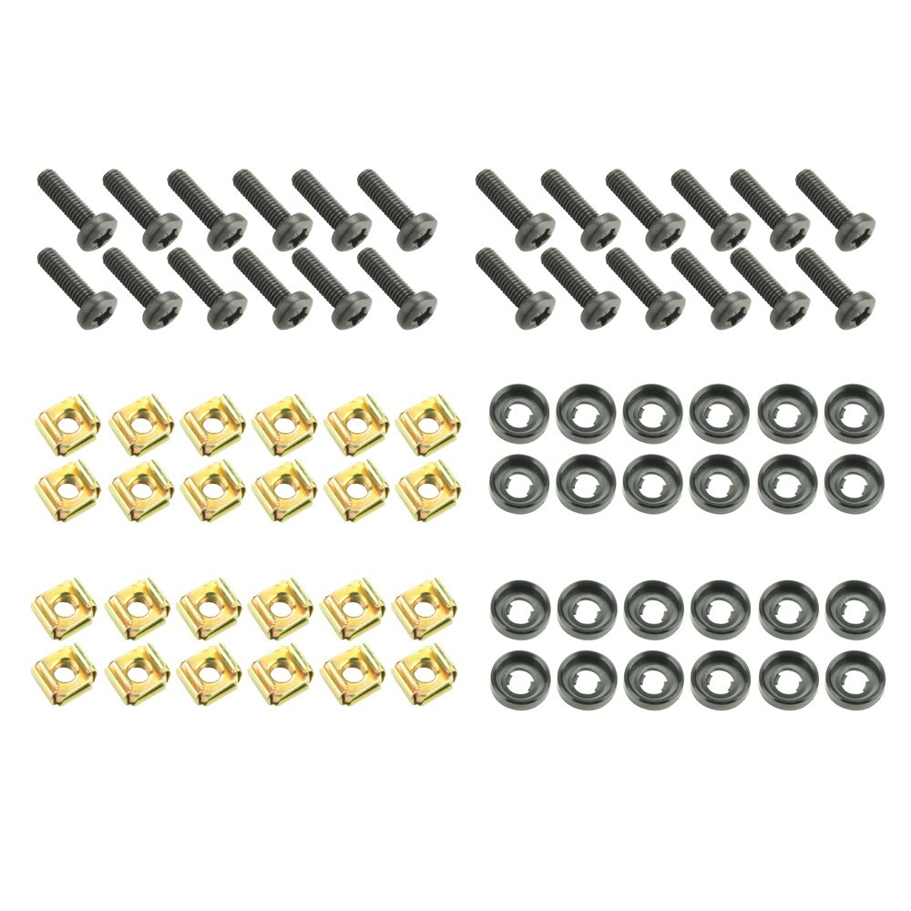 """Adam Hall 19"""" Parts 5928 M24 AH Bag of 24 M6 x 20 mm screw with cage nut and washer"""