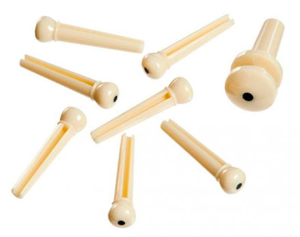 D'Addario Injected Molded Bridge Pins with End Pin, Set of 7, Ivory with Ebony Dot