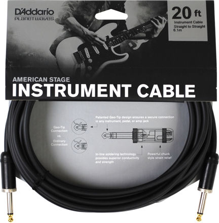 D'Addario American Stage Instrument Cable, 20 feet