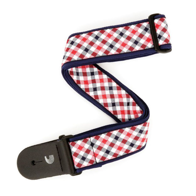 D'Addario Woven Guitar Strap, Gingham - Red and Navy