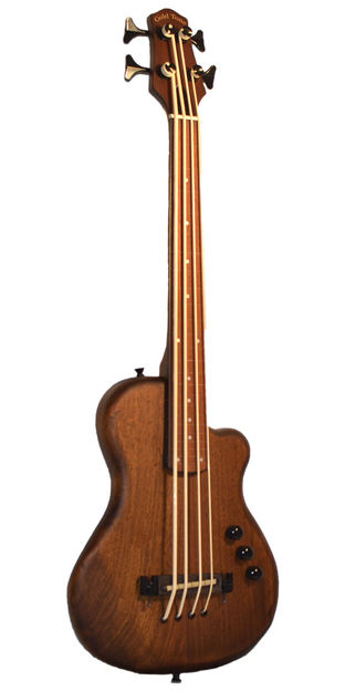 """Gold Tone Me-Bass/Fl Fretless 23"""" Scale Solid Body Microbass"""